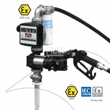 Бочковой комплект DRUM EX50 12V DC K33 ATEX 12В 50л/мин, с счетчиком, с автоматическим пистолетом и фильтром сепаратором воды F0037501A, F0037503A для перекачки бензина, дизтоплива и керосина, PIUSI Италия