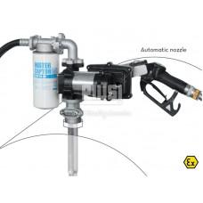 Бочковой комплект DRUM EX50 12V DC ATEX 12В 50л/мин, с автоматическим пистолетом и фильтром сепаратором воды F00372010, F00372040 для перекачки бензина, дизтоплива и керосина, PIUSI Италия