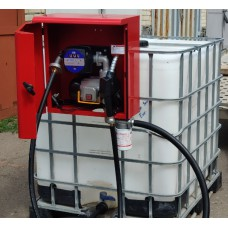 Мини АЗС 220В 60л/мин в металлическом ящике на базе еврокуба с механическим счетчиком для дизельного топлива